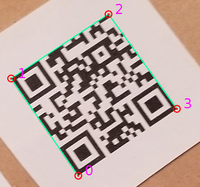 Four selected corners on QR Code. CW or CCW order doesn't matter.